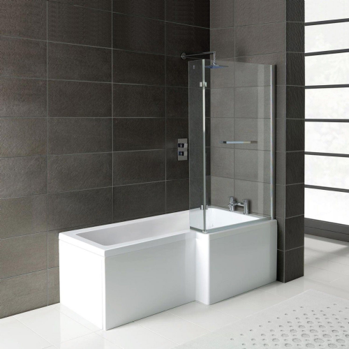 Matrix L-Shape 1600mm Shower Bath & Front Panel - Left Hand